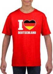 Rode Shoppartners Rood I love Deutschland supporter shirt kinderen - Duitsland shirt jongens en meisjes S (122-128)