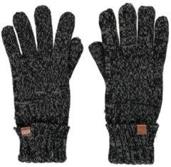 Zwarte Sarlini Donkergrijs gemeleerde gebreide handschoenen voor kinderen - One size - Warme fleece voering handschoenen voor jongens/meisjes