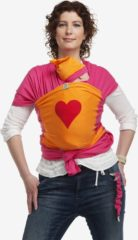 Rode ByKay - Draagdoek - Stretchy Wrap Deluxe Fuchsia/ Oranje/ Hart Rood - Large