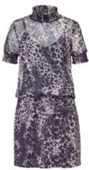 ROCKGEWITTER Kleid, Animalprint, Gesmokte Details an Kragen und Ärmeln, leger geschnitten, extravagant