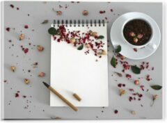 Rode KuijsFotoprint Plexiglas - Koffiebonen met Kruiden - 40x30cm Foto op Plexiglas (Met Ophangsysteem)
