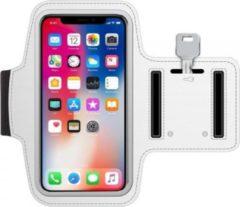 Universele hardloop telefoonhouder armband – geschikt voor telefoons 15cm t/m 16,3cm – Telefoonhouder hardlopen universeel – - o.a. iPhone en Samsung - Wit