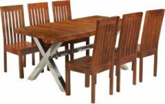 Bruine Merkloos / Sans marque Complete Eettafel set 7 delig Massief Acacia hout (Incl Houten Dienblad) - Eet tafel + 6 Eetstoelen - DIneertafel - Eettafelstoelen - Eetkamerstoelen - Eethoek 6 persoons