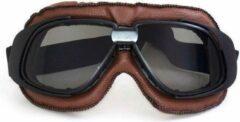 Pothelm.nl Retro bruin leren motorbril donker glas