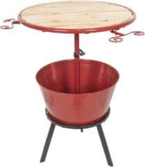 Rode Bijzettafel - Ø 58*108 cm - bruin - metaal - Clayre & Eef - 5Y0462