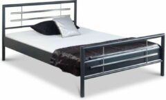 Antraciet-grijze Bed Box Holland - Holly metalen bed - Antraciet/Chroom - 140x200