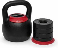Klarfit Adjustabell verstelbare kettlebell gewicht: 8-10-12-14-16 kg zwart/rood