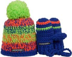 Poederbaas Baby Winter Set Muts (Sport) - Unisex - lime groen/ blauw/ oranje