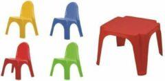 Anders Kinderset Tafel + 4 stoelen Karen - Multicolor