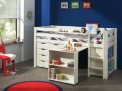 Vipack Halfhoogslaper Charlotte wit met bureau, boekenkast en ladekast