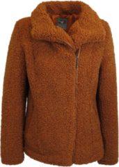 MGO Leisure Wear MGO Lynn - Dames winterjas - wol look - Bikerjack - Roest / Rood / Oranje - Maat M