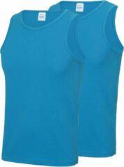 Awdis 2-Pack Maat M - Sport singlets/hemden blauw voor heren - Hardloopshirts/sportshirts - Sporten/hardlopen/fitness/bodybuilding - Sportkleding top blauw voor mannen
