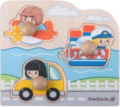 Everearth Vorm puzzel voertuigen hout multicolor 3 delig