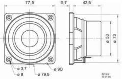 "Visaton Vs-sc8n Full-range Luidspreker 8 cm (3.3"") 8 Ohm"
