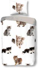 Snoozing Kittens dekbedovertrek - 100% katoen - Junior (120x150 cm + 1 sloop) - 1 stuk (60x70 cm) - Bruin