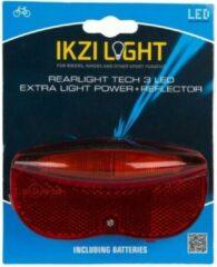 Ikzi Light Achterlicht 3 Leds Batterij 6 X 11,5 Cm Zwart/rood