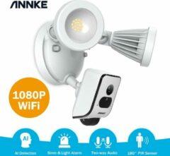 Witte Annke 1080p HD foodlight wifi beveiligingscamera met schijnwerper, led-spots, bewakingscamera voor buiten, sirene en intercomfunctie, cloud-opslag beschikbaar