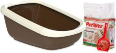 PeeWee EcoGranda Startpakket - Kattenbak - Bruin - 66.5 x 48.5 x 28 cm