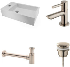 Roestvrijstalen Diamond Line Fonteinset Nila Solid Surface Links 40x22x10cm Toiletrkaan clickwaste Sifon RVS