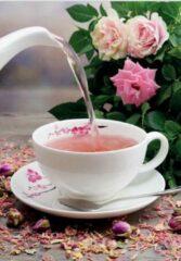 Roze Dt Kop en schotel porselein - Motief kersenbloesem - 200 ml