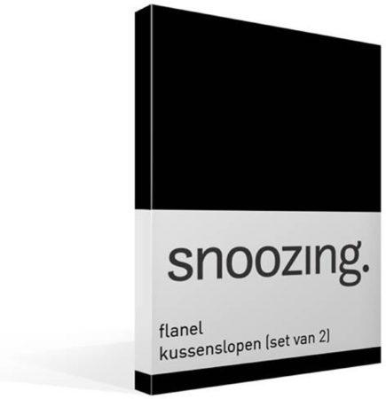 Afbeelding van Snoozing - Flanel - Kussenslopen - Set van 2 - 60x70 cm - Zwart