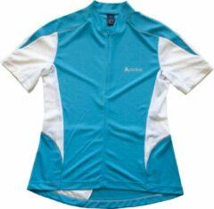 Fietsshirt Dames – Odlo – Korte Mouw en Rits – Lichtblauw/Wit maat L