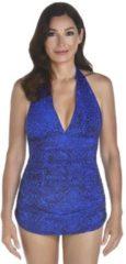 Blauwe Coolibar UV badpak Dames - Print - Maat 34