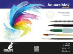 Creme witte Aquarelpapier Kangaro 32x24cm - 300 gr 16 vel, roomwit zuurvri