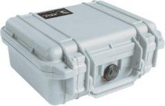 Grijze Peli 1200 Waterdichte Camerakoffer Zilver met Foam Interieur