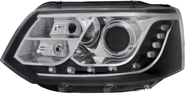 Afbeelding van Set koplampen passend voor incl. DRL Volkswagen Transporter T5 Facelift 2010-2015 - Zwart - incl. Mo