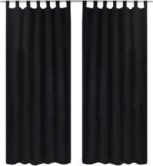 Zwarte VidaXL Micro - Kant en klaar gordijn met ringen - Satijn - Zwart - 140x175 cm - 2 stuks