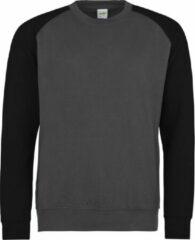 Zwarte AWDis Just Hoods Baseball sweatshirt, Kleur Charcoal/ Jet Black, Maat XXL