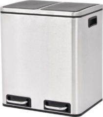 Zilveren VidaXL Pedaalemmer voor recycling 2x15 L roestvrij staal
