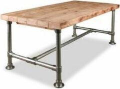 Zilveren Woonexpress Steigerbuistafel - Eettafel - 90x200cm - bruin
