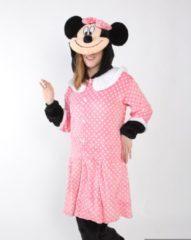 KIMU Onesies KIMU Onesie Minnie Mouse pak roze kostuum polkadots muis - maat S-M - muizenpak jumpsuit huispak festival