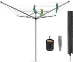 Grijze Brabantia Droogmolen Lift-O-Matic Advance, 50 meter met metalen grondanker, doorsnede 50 mm met beschermhoes en wasknijpertasje - Metallic Grey