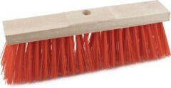 Sorx Harde straatbezem/buitenbezem kop elaston 32 cm met rode synthetische haren - schoonmaken - bezems