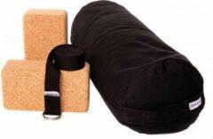 Zenzes PRO bolster met yogariem en 2 yogablokken - zwart