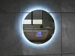 Mawialux LED spiegel   60cm   Rond   Verwarming   Digitale klok   Bluetooth   ML-60NMR