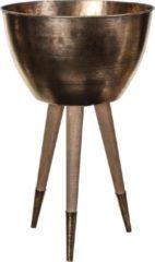 PTMD Jamie bronskleurige metalen plantenbak op houten voet maat in cm: 32 x 32 x 51 - goud