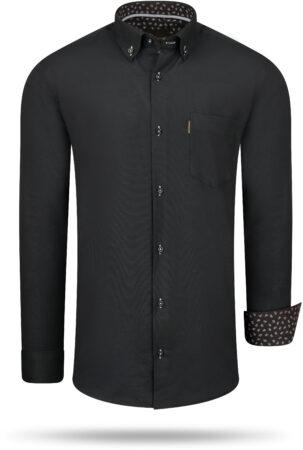 Afbeelding van Zwarte Cappuccino Italia Regular fit overhemd black