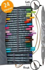 Grijze ONLINE Schreibgeräte ONL81463 Calli.Brush dubbele brushpennen set met roletui