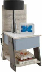 Zandkleurige FD Furniture Nachtkastje Nona van 70 cm hoog in zand eiken