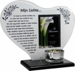 Gele New dutch Waxinehouder in memoriam overleden glas hart met gedicht Mijn Liefste ...