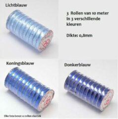 Lichtblauwe Kingsley-hobby.com Elastisch draad van 0,8mm dik. Verkocht per 3 rollen van 10 meter in 3 verschillende kleuren blauw.