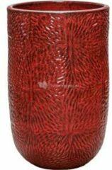Donkerrode Ter Steege Hoge Pot Marly Deep Red ronde rode bloempot voor binnen en buiten 47x70 cm