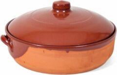 Bruine Merkloos / Sans marque Stenen ovenschaal/braadpan met deksel Salamanca 28 cm - Terracotta ovenschalen/braadpannen