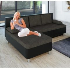 Ecksofa Bettsofa Schlafsofa Couch mit Schlaffunktion 'Stylosa Schwarz' 196 x 70 x 150 cm VCM Schwarz, Grau