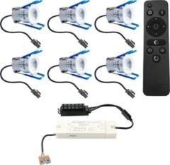 Grijze HOFTRONIC™ Complete LED inbouwspots set 6x3W 12V Mini 28mm dimbare Milano IP65 spatwaterdicht voor Veranda, Badkamer, Tuinhuis en Woonkamer
