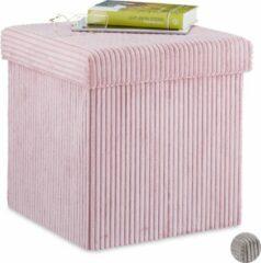 Roze Relaxdays poef met opbergruimte - hocker opvouwbaar - krukje ribstof - zitkruk - 38x38x38 Bordeaux